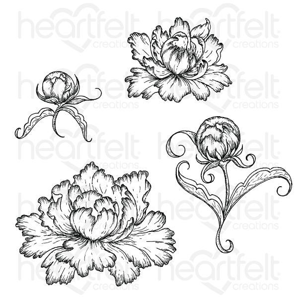 HCPC-3821-Sweet Peony :Peony Bud and Blossom Cling Stamp Set