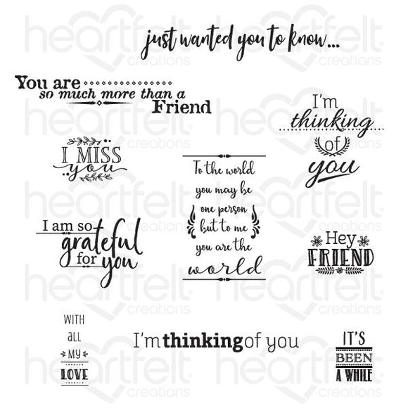 HCPC-3844 : For My Friend Sentiments Cling Stamp Set