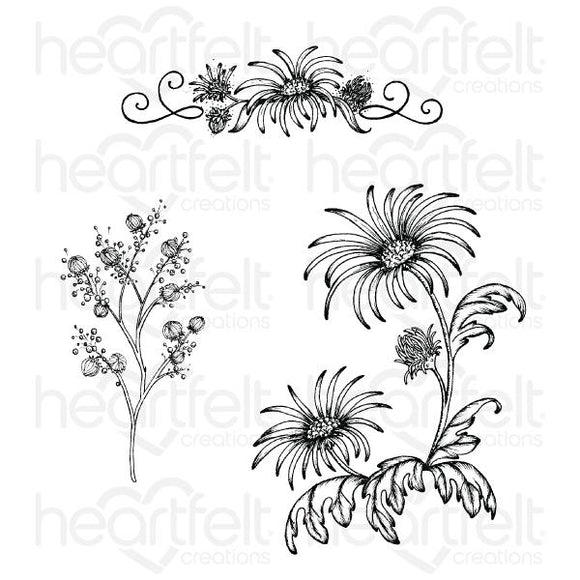 HCPC-3888 - Wild Aster Spray Cling Stamp Set