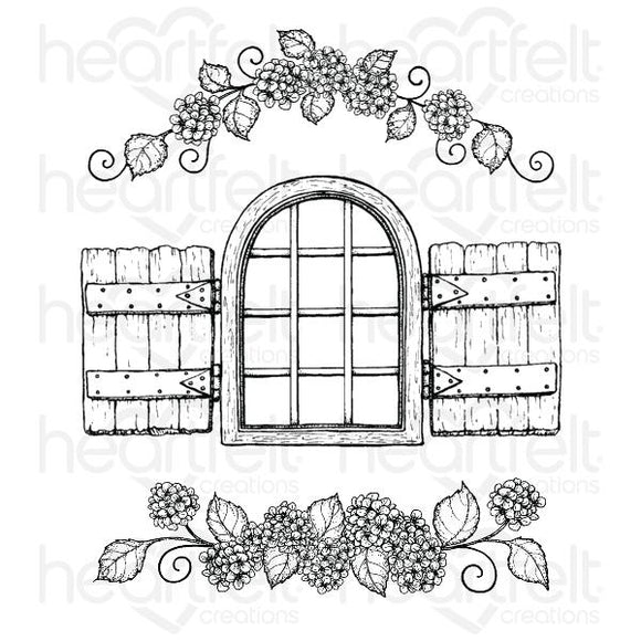 HCPC-3902 : Cottage Window & Hydrangea Cling Stamp Set