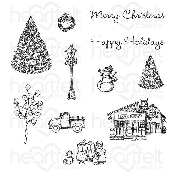Heartfelt Creations : HCPC-3921 - Festive Winterscapes Cling Stamp Set