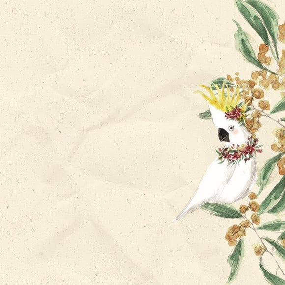 Kaisercraft : P2834- Under the Gum Leaves  12x12 Scrapbook Paper - Cockatoo