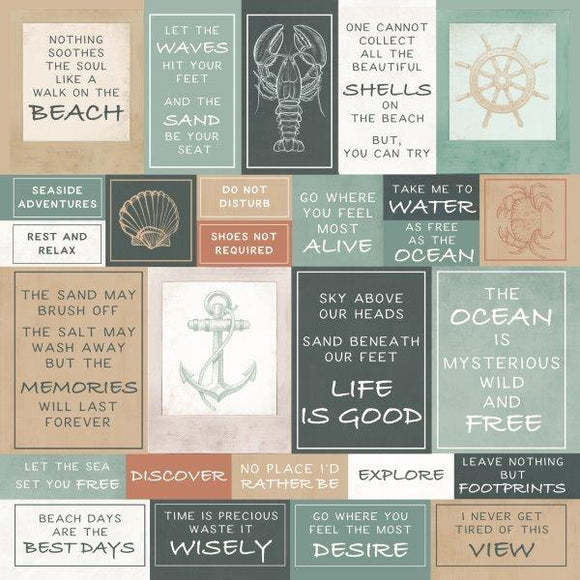 Kaisercraft : P2855 - Uncharted Waters 12x12 Scrapbook Paper - Shallows