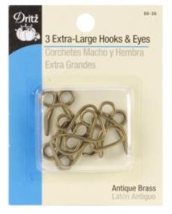 Dritz- 3 Extra large Hooks - Antique Brass