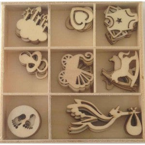 Craft - 10227 Wooden Embellishments - Baby
