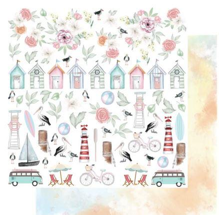 UCP2136 Beach Life Fussy Cuts Paper - Ocean Breeze (Uniquely Creative)