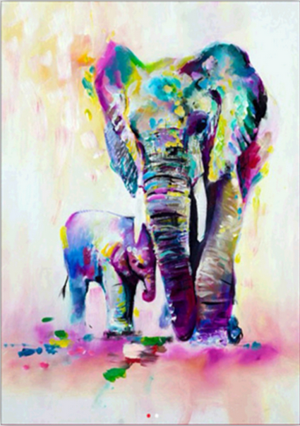 Diamond Painting #10- Colourful Elephants