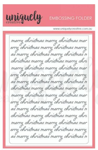 UCEF2003- Christmas Script Embossing Folder : Holly Jolly Christmas (Uniquely Creative)
