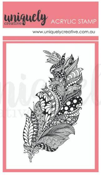 UC1829 - Zentangle Feathers Mark Making Mini Stamp - Acrylic Stamp- Outback Divine (Uniquely Creative)