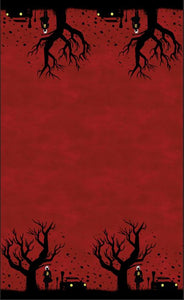 Half Witch Double Border Small Scale - Red - Silver Fox Fabrics