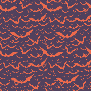 Coral Bats on Purple - Silver Fox Fabrics