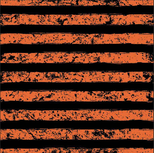 Deep Orange and Black Grunge Stripe - Silver Fox Fabrics