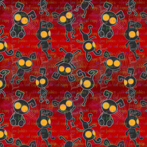 Shadow Heartless Red - Silver Fox Fabrics