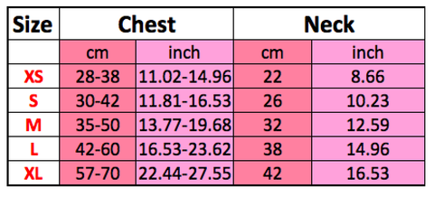 Adjustable Dog Harness Size Chart