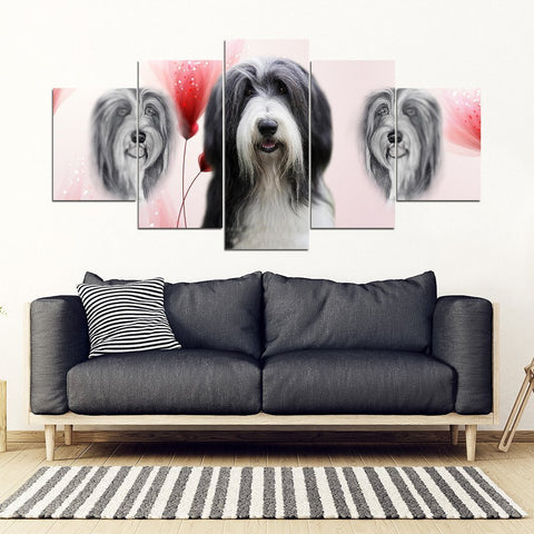 Bearded Collie Print-5 Piece Framed Canvas- Free Shipping-Paww-Printz-Merchandise
