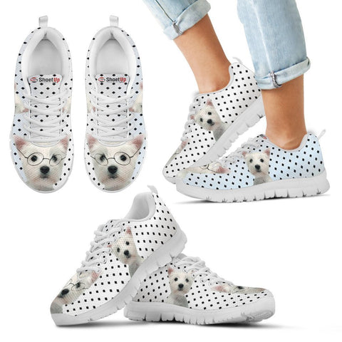 West Highland White Terrier Black Dots Print Running Shoes For Kids-Free Shipping-Paww-Printz-Merchandise