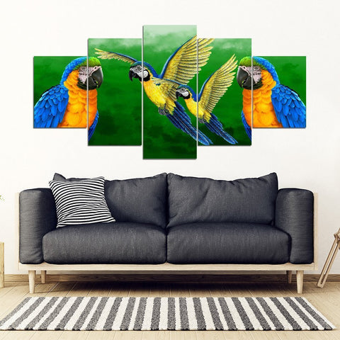 Blue And Yellow Macaw Parrot (Blue And Gold Macaw ) Print 5 Piece Framed Canvas- Free Shipping-Paww-Printz-Merchandise