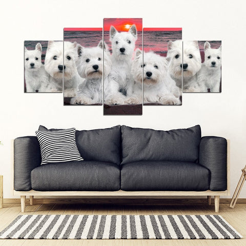 West Highland White Terrier (Westie) With Family Print-5 Piece Framed Canvas- Free Shipping-Paww-Printz-Merchandise