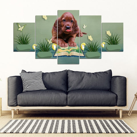 Irish Setter Dog2 Print-5 Piece Framed Canvas- Free Shipping-Paww-Printz-Merchandise