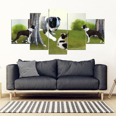 Cute Boston Terrier Print-5 Piece Framed Canvas- Free Shipping-Paww-Printz-Merchandise