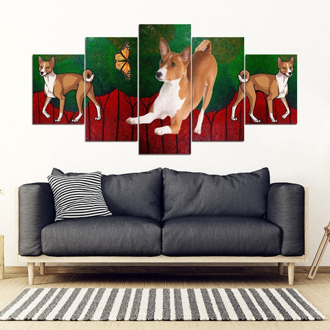 Basenji Dog Print-5 Piece Framed Canvas- Free Shipping-Paww-Printz-Merchandise
