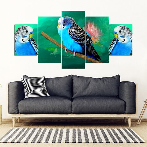 Budgie Or Budgerigar (Common Parakeet ) Parrot Print 5 Piece Framed Canvas- Free Shipping-Paww-Printz-Merchandise
