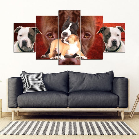 Pit Bull Terrier Print- Piece Framed Canvas- Free Shipping-Paww-Printz-Merchandise