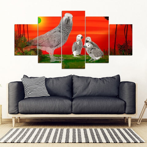 Cute African grey parrot With family Print-5 Piece Framed Canvas- Free Shipping-Paww-Printz-Merchandise