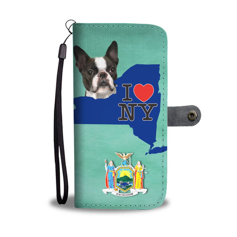 Boston Terrier Dog Print Wallet Case-Free Shipping-NY State