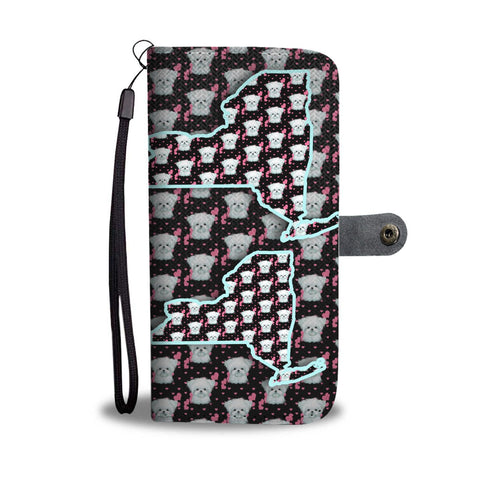 Maltese Dog Pattern Print Wallet Case-Free Shipping-NY State
