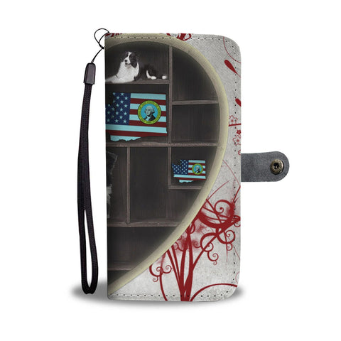 Border Collie Heart Storage Print Wallet Case-Free Shipping-WA State