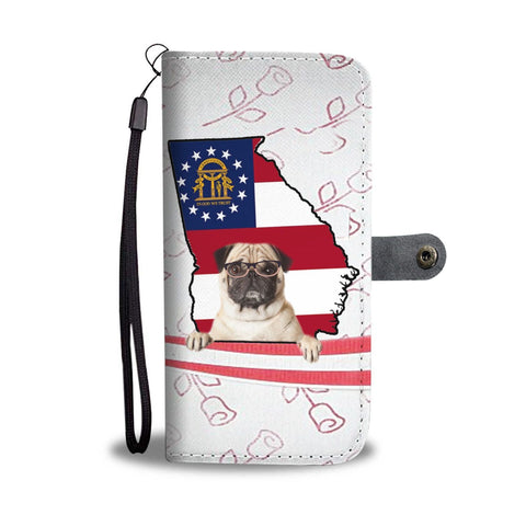 Pug Dog Print Wallet Case-Free Shipping-GA State