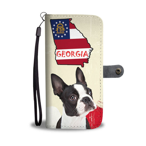 Boston Terrier Print Wallet Case-Free Shipping-GA State