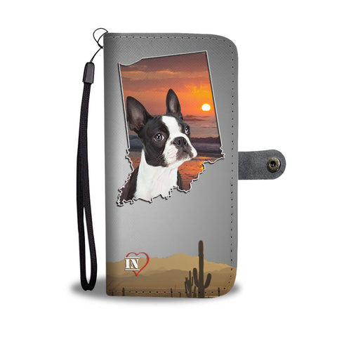 Lovely Boston Terrier Print Wallet Case-Free Shipping-IN State