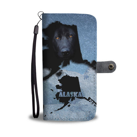 Black German Shepherd Dog Print Wallet Case-Free Shipping-AK State