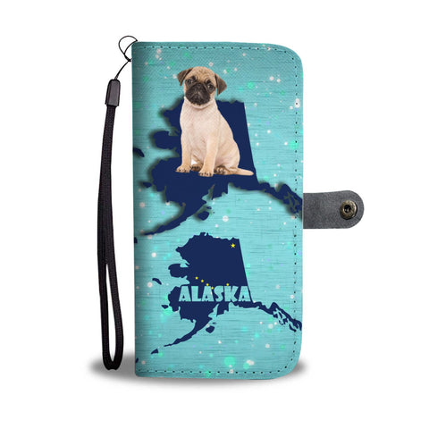 Cute Pug Dog Print Wallet Case-Free Shipping-AK State