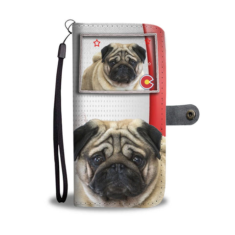 Pug Print Wallet Case-Free Shipping-CO State