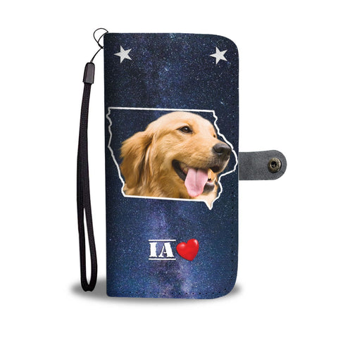 Cute Golden Retriever Print Wallet Case- Free Shipping-IA State