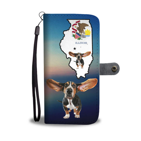 Basset Hound Print Wallet Case-Free Shipping-IL State