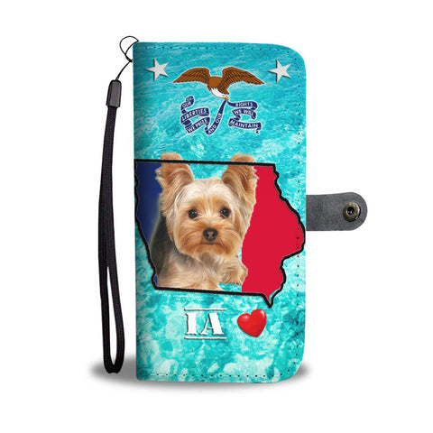Cute Yorkshire Terrier Print Wallet Case-Free Shipping- IA State