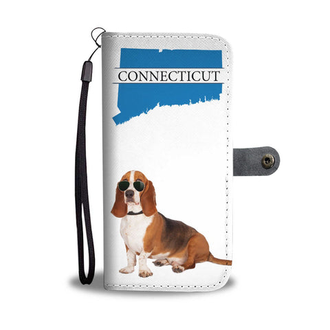 Basset Hound Print Wallet Case-Free Shipping-CT State