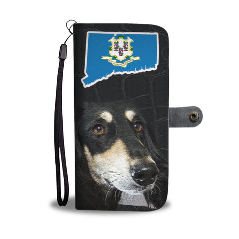 Black Saluki Print Wallet Case-Free Shipping-CT State
