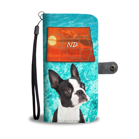 Boston Terrier Print Wallet Case- Free Shipping-ND State