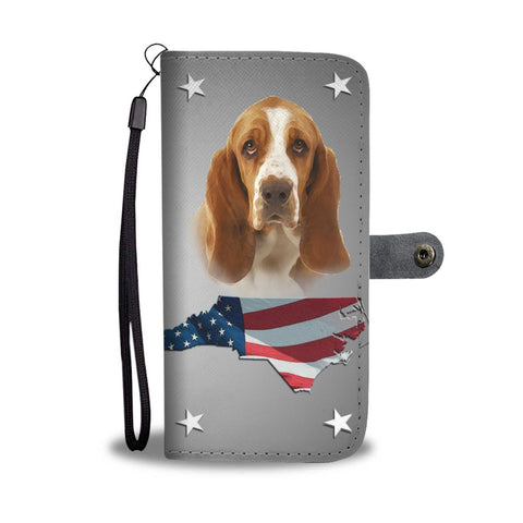 Lovely Basset Hound Print Wallet Case- Free Shipping-NC State
