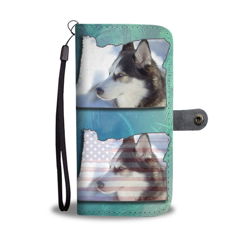Siberian Husky Dog Print Wallet Case-Free Shipping-OR State