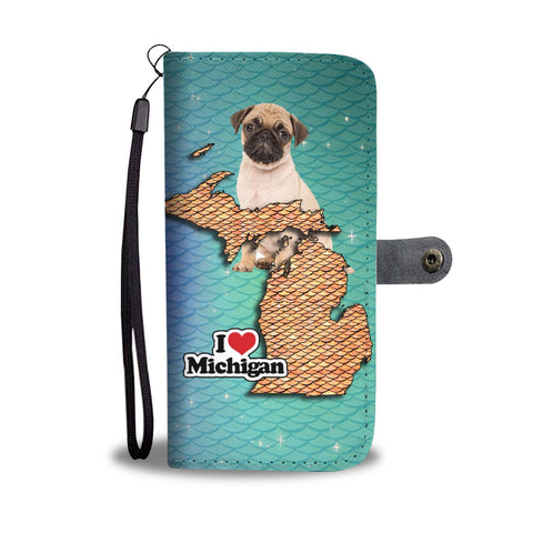 Lovely Pug Dog Print Wallet Case-Free Shipping-MI State