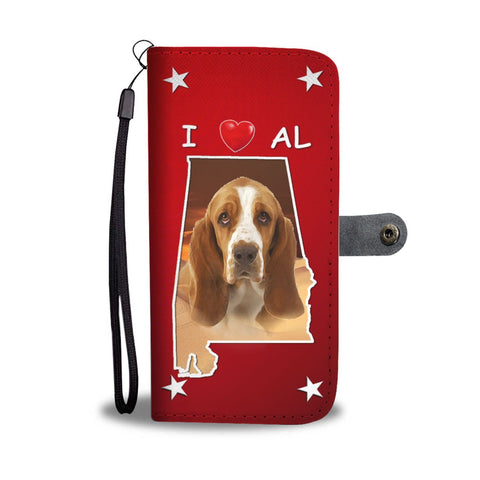 Basset Hound On Red Print Wallet Case-Free Shipping-AL State