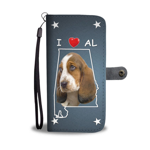 Cute Basset Hound Print Wallet Case- Free Shipping-AL State