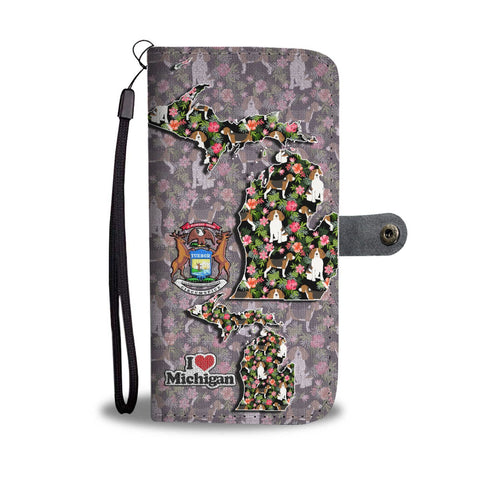 Amazing Beagle Floral Print Wallet Case-Free Shipping-MI State