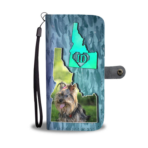 Cute Yorkshire Terrier Dog Print Wallet Case-Free Shipping-ID State